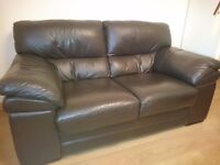 2 SEATER DARK BROWN LEATHER SETTEE (plus OPTIONAL **FREE** MATCHING 3 SEATER (see description)