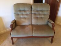 2 Seater Settee in Green (Cottage Style) - Good Condition