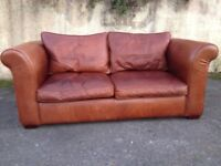 Laura Ashley three seater sofa in brown Leather