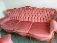 RARE-French-Rococo-Louis-Vintage-Chesterfield-Hand-Carved PInk Velvet + 2 chairs