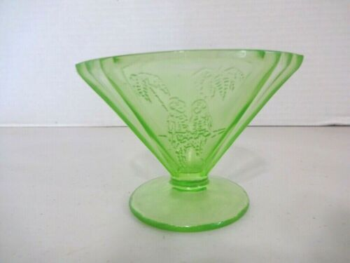 "Federal ""Parrot"" Sylvan Green Depression Glass Footed Sherbet"