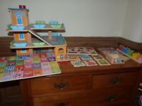 Wooden toy bundle - vgc. Garage. Puzzles (vehicles, animal, numbers, shapes)