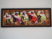 Peruvian modern painting in solid wood frame