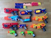 11 Nerf guns including Zombie Strike Sledge Fire, 2 Mega Cyclone Shocks, Maverick Strong Arm etc.