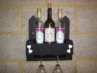"Wooden Rustic Chalk Board Fronted ""Wine For 2"" Wine & Glass Holder / Rack"