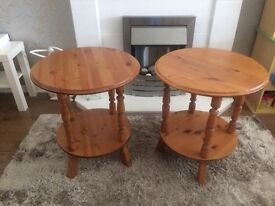 2 x solid pine side table/ lamp table