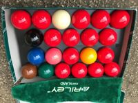 Aramith Pro Snooker Ball Set 2 1/16. Also included Training white ball