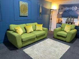 Lime green fabric suite 3 seater sofa and armchair