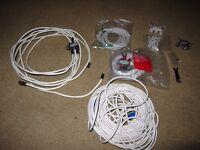 Coaxial satelite cables, splitters, F connectors, moulded ends, 1.5m, CAT5e ethernet, Virgin Media