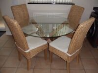 Dining Table and Chairs Set Oak Glass & Rattan