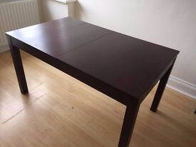 IKEA EXTENDABLE DINING TABLE (BJURSTA) brown-black, seats 4-8
