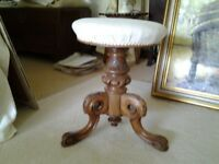 VICTORIAN CARVED WALNUT REVOLVING PIANO STOOL IN VERY GOOD CONDITION
