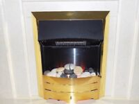 Brass and pebble real effect flame electric fire