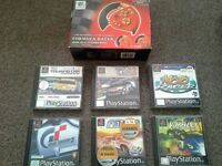 Playstation 1 ps1 boxed steering wheel & 6 driving games