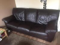 Leather 3 seater and arm chair