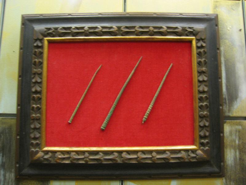 3 Framed Ancient Bronze Pins