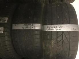 275/40/20 part worn Goodyear tyres