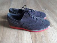 Women's suede brogues shoes with red sole