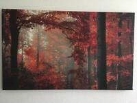 Red forest/ Tree Printed Canvas 50x30""