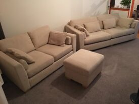 Large 3 seater and 2 seater sofa and foot stool