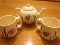 Ladybird Teapot and 2 Matching Cups