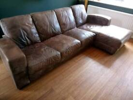 Real leather L shape sofa