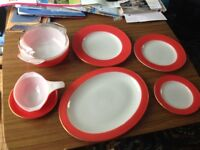 Red & White Pyrex Tableware