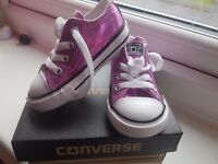 Pink sparkly baby converse size 5