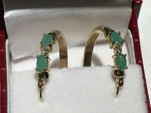 #1547 10K YELLOW GOLD LADIES EMERALD AND DIAMOND HOOP EARRINGS - APPRAISED AT $1000.00 SELLING FOR $350.00