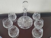 Royal doulton decanter and 6 brandy cut glasses