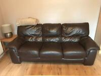 Brown leather three seater and arm chair