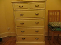 Tall dresser chest of drawers bedroom drawer unit cream/ivory