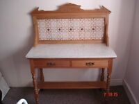 Antique marble and tiled washstand.
