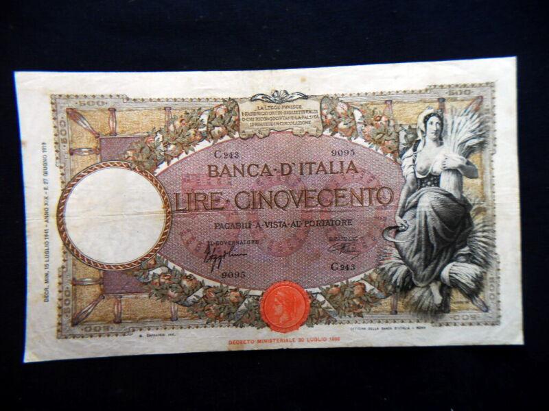 1941 ITALY Kingdom rare Banknote 500 Lire VF BB Mietitrice