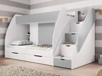 Checo Ltd BUNK BEDS, WITH DRAWERS STORAGE IN GRAY