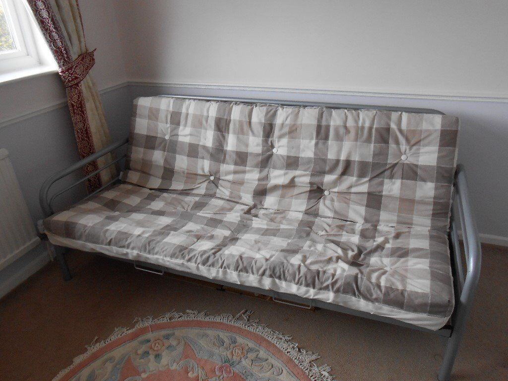 Sofa Bed 66x 44in Great Barton, SuffolkGumtree - Sofa Bed 66 x 44, Very sturdy metal frame, wonderfully easy to operate, just pull the handles under the front frame and its a bed, push handles and its a sofa. Complete with full size covered cushion which becomes the mattress in bed mode, 4 pillow...