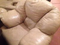 3 Piece Leather Suite Biege/Tawny