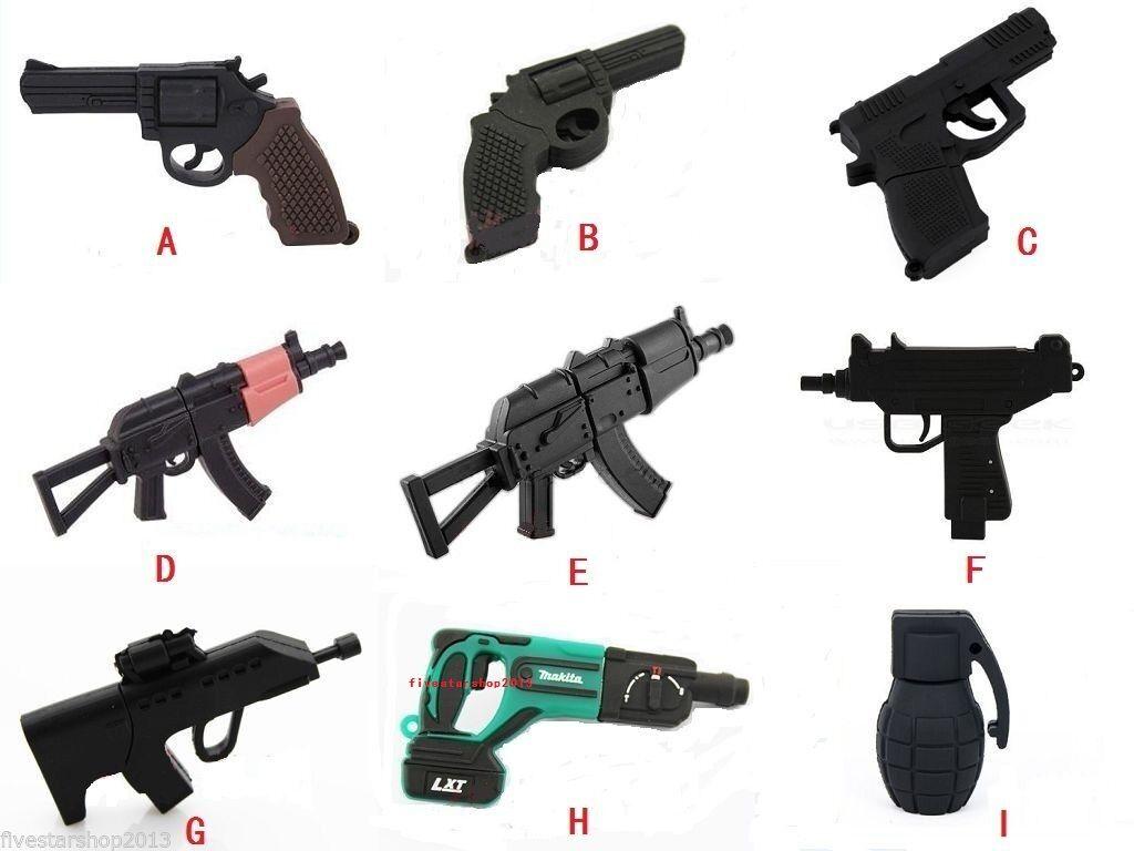 Mini Gun/Grenades/Pistol Model USB 2.0 Memory Stick Flash Pen Drive 4GB-64GB Q17