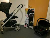 Joie Chrome travel system. Buggy, car seat, carry cot & accessories