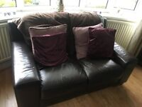 Brown leather 3 seater, 2 seater and armchair living room suite