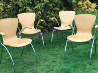 Four retro vintage wood chrome carver chairs