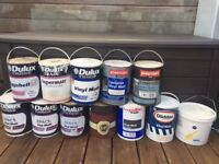 Large Job Lot of Interior and Exterior Paint in 5L tins, mostly Dulux Matt White