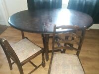 Free. 6 seater dropleaf table and 2 chairs