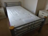 Silver grey metal frame single bed