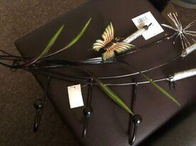 Metal Butterfly Wall Mounted 3 Hooks