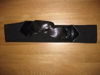 Ladies Black Elasticated belt with Silver Colour Clasps
