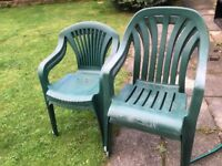 FREE 4 green plastic garden chairs ideal for party. Well used. Collect Coulsdon Croydon Surrey