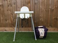 Ikea antilop highchair and Munchkin travel booster seat