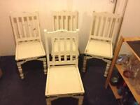 4 x shabby chic dining room chairs