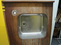 Stainless Steel Kitchen Sink & Iroko Worktop